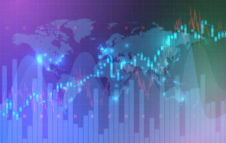 High detailed charts of growing markets, vector illustration 写真素材