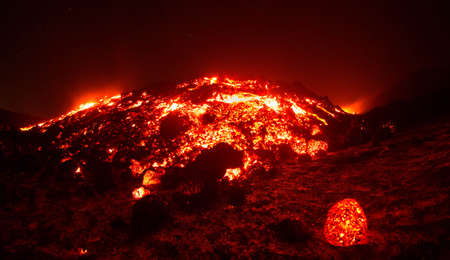 Great Lava Explosion during eruption on Etna volcano in the night