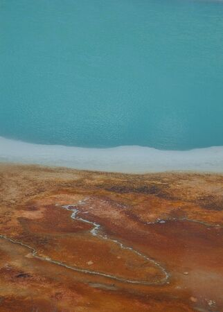 Striking colors and simple but stunning pattern of a hot spring in Yellowstone