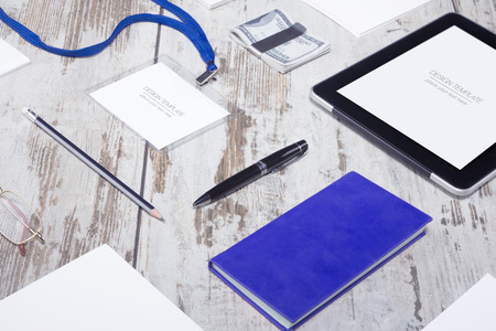 stack of files: Mockup business template. High resolution. Stock Photo