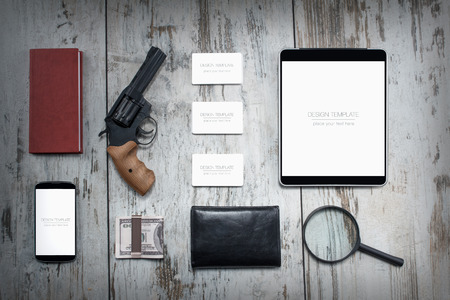 detective agency: Mockup business template. Detective agency. High resolution. 3D reander