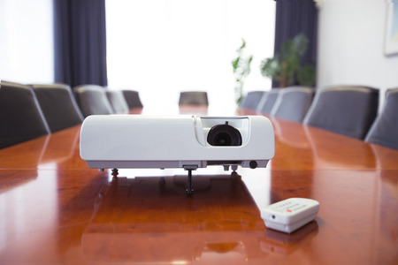 Conference room with projector. High resolution. 3D render Фото со стока