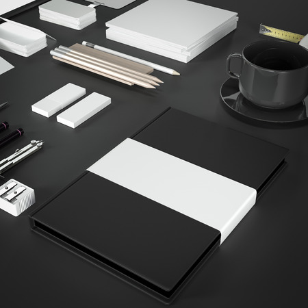 Mockup business template. High resolution. 3D render photo