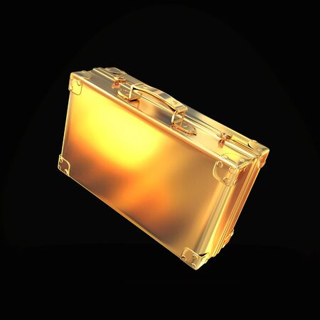 currency glitter: Beautiful golden briefcase representing  business on black background. Hi gh resolution.