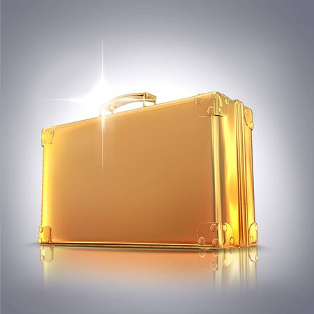 currency glitter: Beautiful golden briefcase representing  business on gray background. Hi gh resolution.