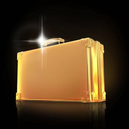 currency glitter: Beautiful golden briefcase representing  business. Hi gh resolution.