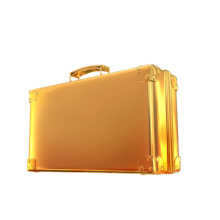 hi resolution: Beautiful golden briefcase representing  business. Hi gh resolution.