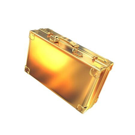 currency glitter: Beautiful golden briefcase representing  business. High resolution.