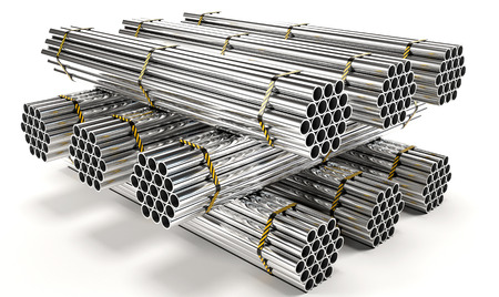 deconstruct: Stainless steel pipes isolated on white background. High resolution Stock Photo