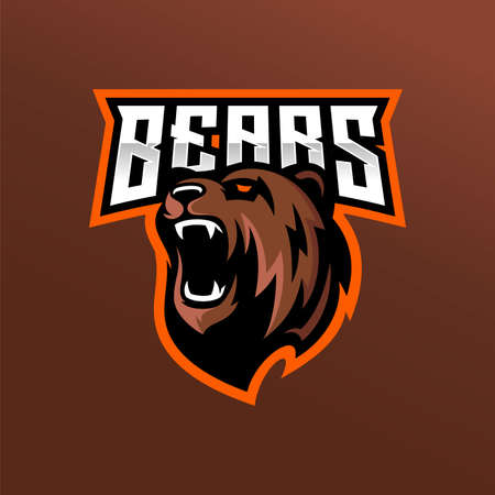 Modern professional grizzly bear logo for a sport team 일러스트