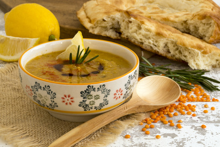 The red lentil soup with Arabic bread.