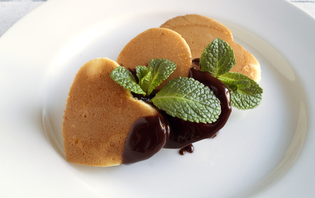 pancakes on Valentines day. on a white plate