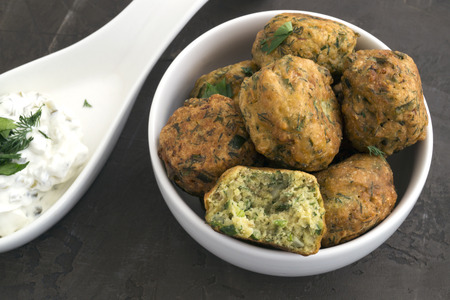 Arabic food, falafel. Balls of chickpeas deep-fried.  Stock Photo