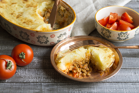 Shepherds pie with minced meat and potatoes.