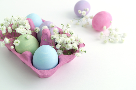 Easter color painted eggs on a white background.