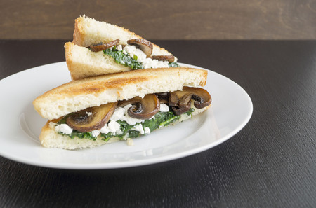 sandwich with spinach, cottage cheese and mushrooms.