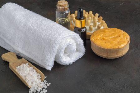 accesorios para tratamientos de Spa y cuidado corporal Foto de archivo