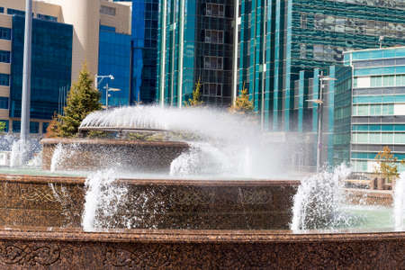 Strong Wind in Astana blows away the fountain of Sunny day