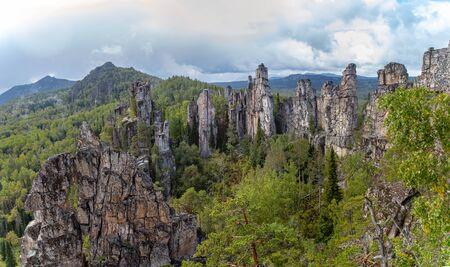 Panorama Mountain range Inzerskie Zubchatki in the southern Urals, Russia.