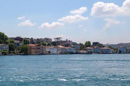 Küstenlandschaft des historischen Teils Istanbuls, berühmte Stadt der Türkei Touristische Istanbul-Stadtlandschaft. Istanbul-Landschaft, Türkei.