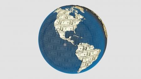dolar: American dolar texture on the earth Stock Photo