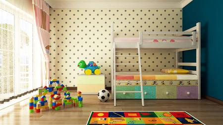 juguete: Dise�o de la habitaci�n de los ni�os con cama dulce Foto de archivo