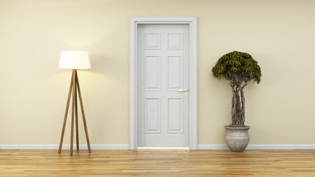 green door: modern design with yellow wall and door