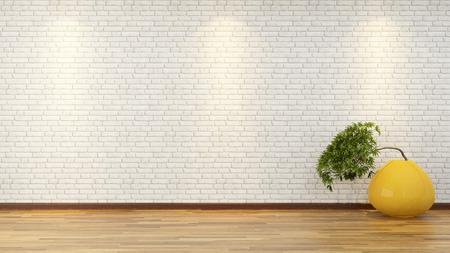노란 꽃병 앞에 흰색 벽돌 벽 분재 나무