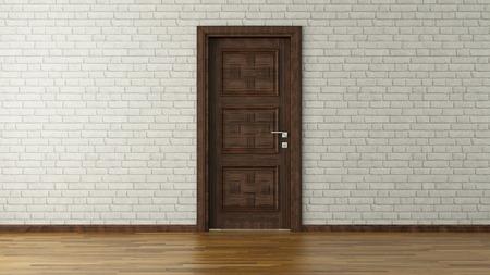 ladrillo: dise�o moderno con pared de ladrillo blanco y puerta