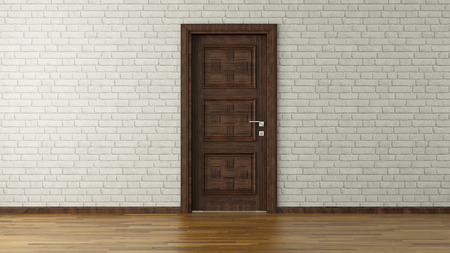 room door: modern design with white brick wall and door