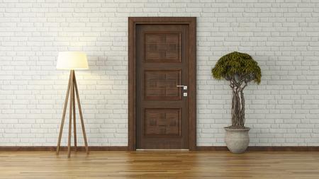 Lichte kamer met tegelvloer, licht, bonsai en bakstenen witte muur achtergrond