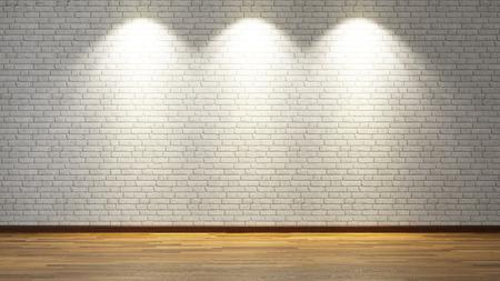 bakstenen muur onder de drie spotjes voor uw ontwerp