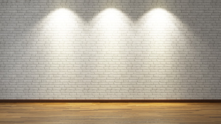 dirty room: brick wall under three spot lights for your design