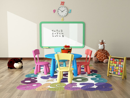 sweet interior decor render for kids room
