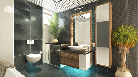 bathroom 3d interior model render Stock Photo