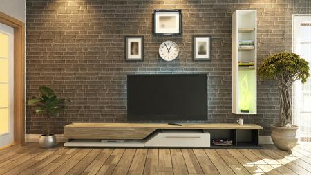 テレビルーム、サロンや物質 7 によってレンガ壁植物とテレビのデザイン リビング ルーム 写真素材