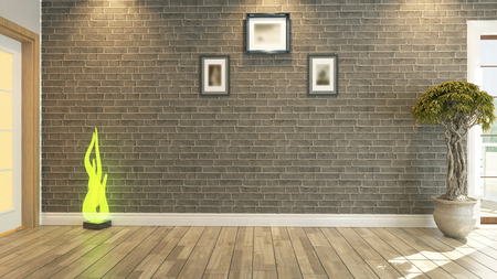 kamer, salon of woonkamer met bakstenen muur planten Stockfoto