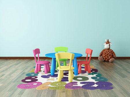 game room: preschool or kids room with colorful table, chair with carpet interior design