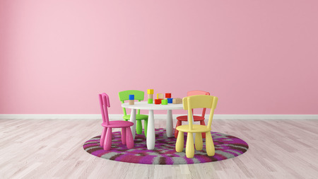 Child room with colorful table and chairs - rendering photo