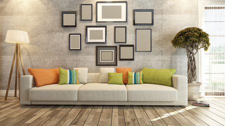 home interior: living room or saloon interior design photo frames 3d rendering