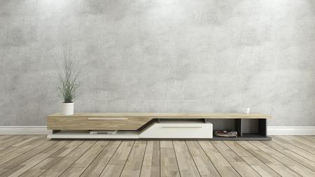 hormig�n: soporte de la TV con muro de hormig�n y el fondo de parquet de madera para el dise�o Foto de archivo