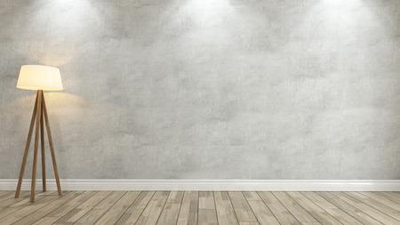 betonnen muur met onder 3 spot light voor uw ontwerp Stockfoto