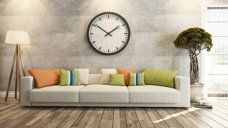 living room: living room or saloon interior design with big wall watch 3d rendering Stock Photo