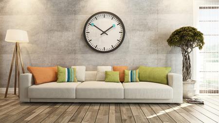 suelos: sala de estar o el salón de diseño de interiores con gran pared reloj representación 3D