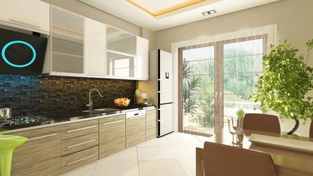 modern kitchen design with flush cabinet
