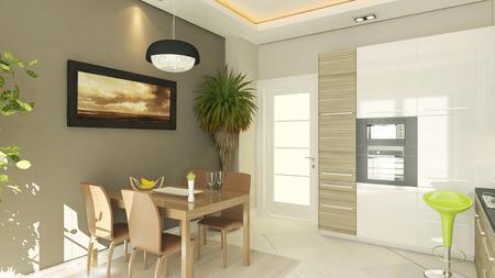 modern kitchen design with render