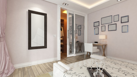 modern bedroom design with pink wall and frames by Sedat SEVEN