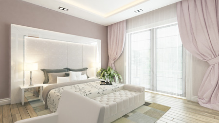 modern bedroom design with pink wall and curtain by Sedat SEVEN 免版税图像