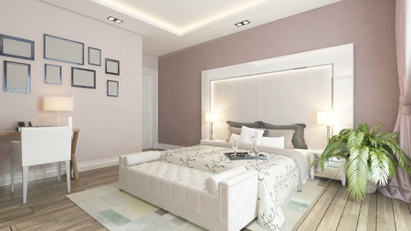 3d bedroom: modern bedroom design with pink wall, plant and frames by Sedat SEVEN