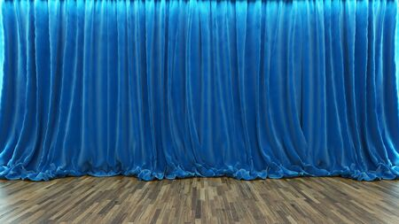 3d rendering blue theater and cinema curtain with parquet floor by Sedat SEVEN Zdjęcie Seryjne